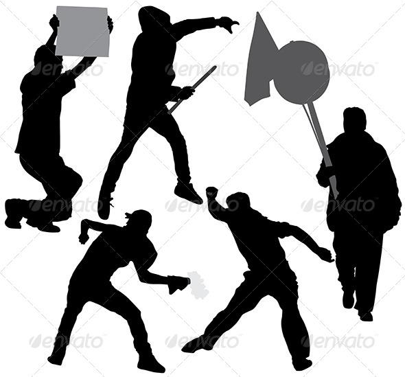 GraphicRiver Rioter Silhouette 5434940