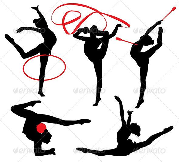 GraphicRiver Rhythmic Gymnastics Silhouette 5434958