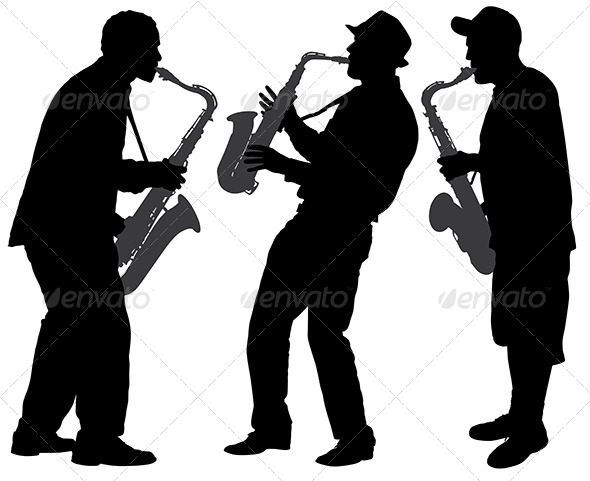 GraphicRiver Saxophone Player Silhouette 5434987