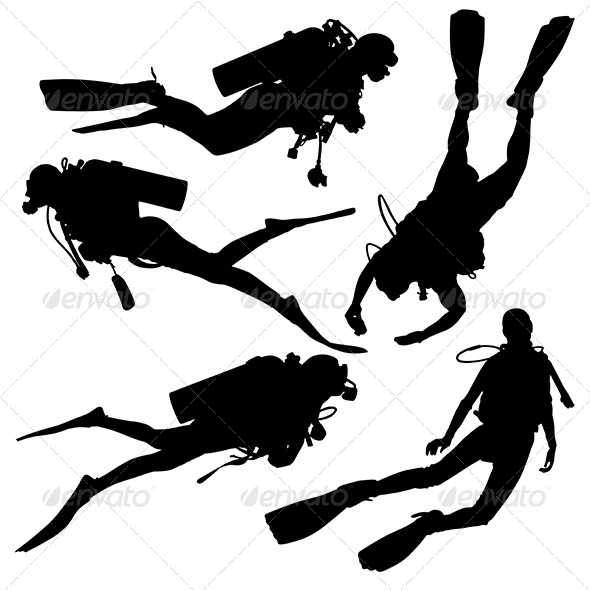 GraphicRiver Diving Silhouette 5435013