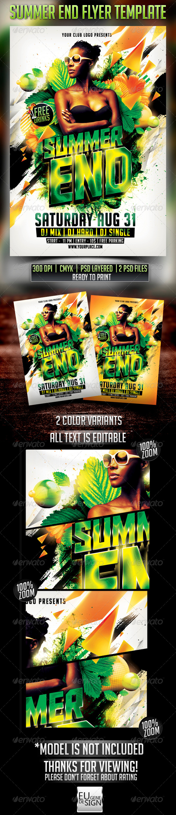 Summer End Flyer Template - Clubs & Parties Events