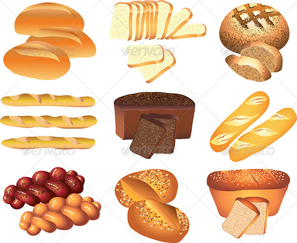 GraphicRiver Bakery Breads Vector Set 5435061
