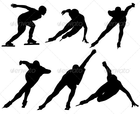 GraphicRiver Ice Speed Skating Silhouette 5435095