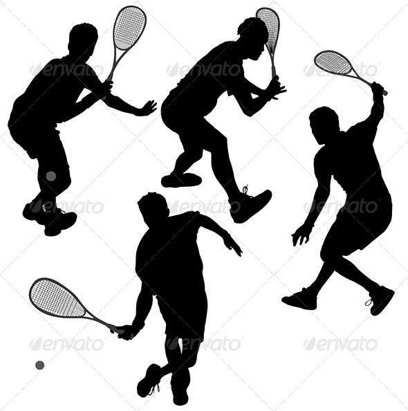 GraphicRiver Squash Players Silhouette 5435113
