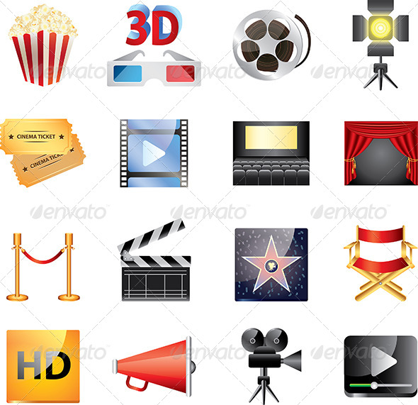 GraphicRiver Popular Cinema ICons Vector Set 5435143