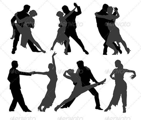 GraphicRiver Tango Dancers Silhouette 5435459
