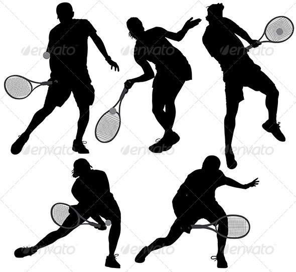 GraphicRiver Tennis Player Silhouette 5435464