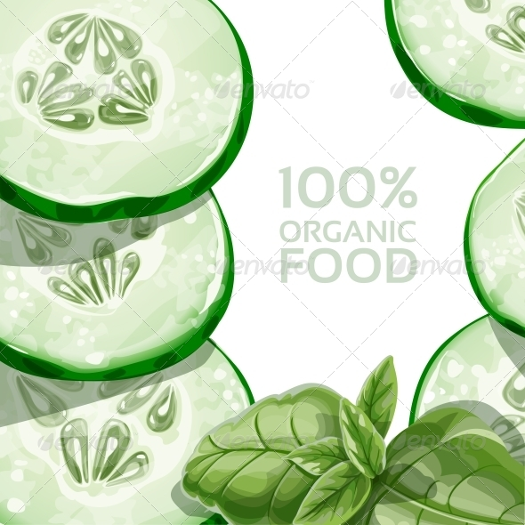 GraphicRiver Background with Green Cucumber and Basil 5435505