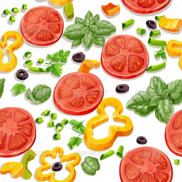 GraphicRiver Seamless Pattern from Vegetables and Herbs 5435516