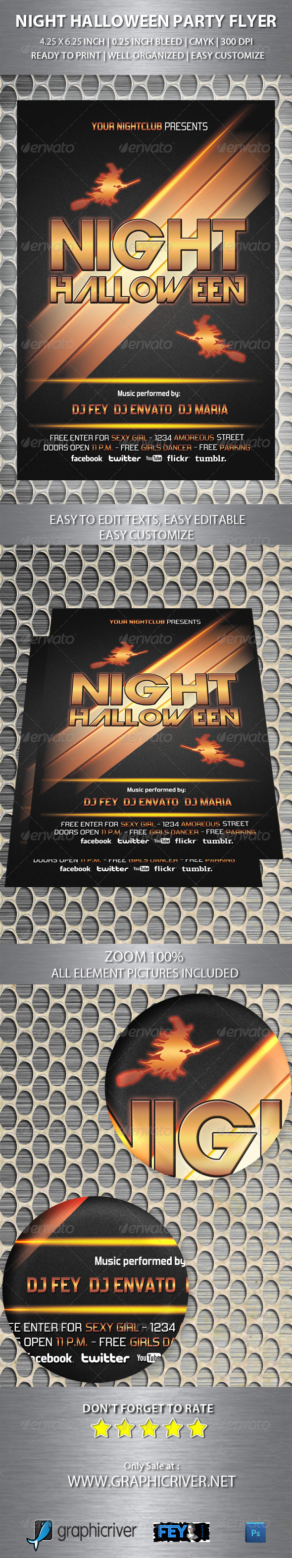 GraphicRiver Night Halloween Party Flyer 5410208