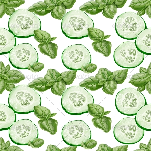GraphicRiver Seamless Background from Slices of Cucumber 5435689