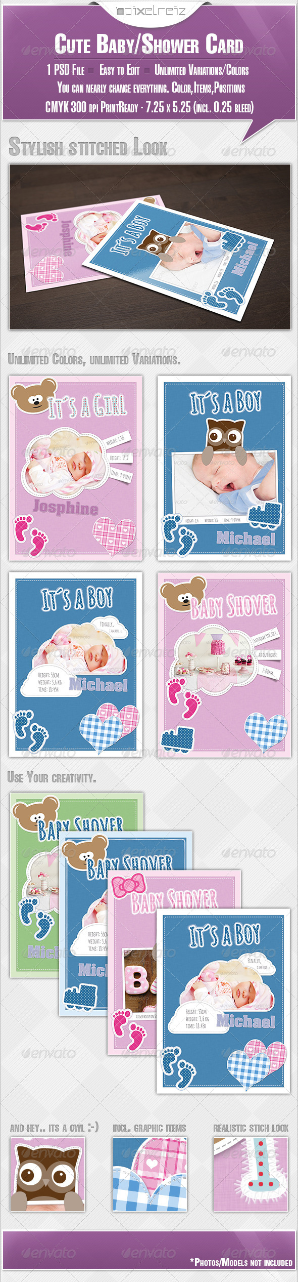 GraphicRiver Cute Baby BabyShower Card 5436069