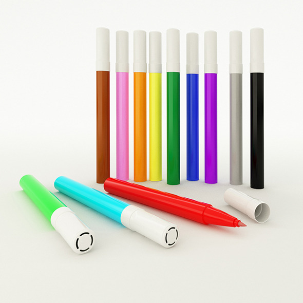 Customizable Coloured Marker with Vray Materials - 3DOcean Item for Sale