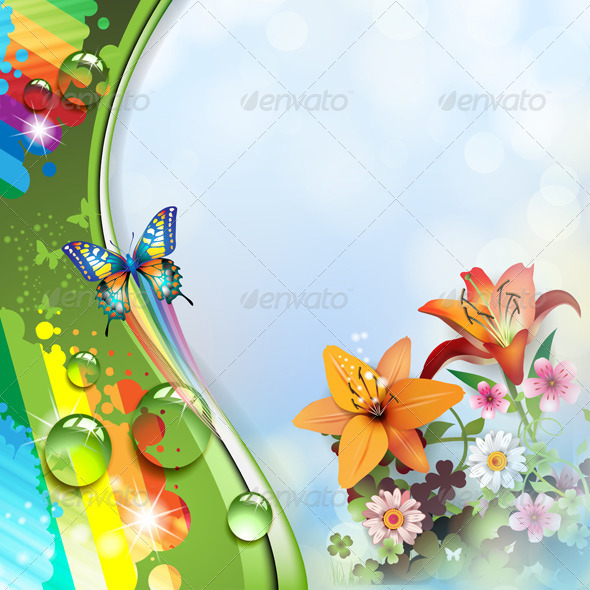 GraphicRiver Lilies and Butterflies 5436318