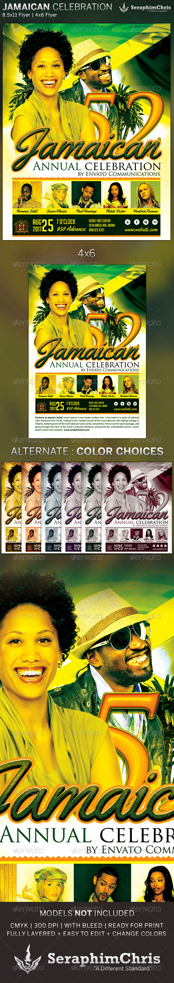 GraphicRiver Jamaican Celebration Event Flyer Template 5436391