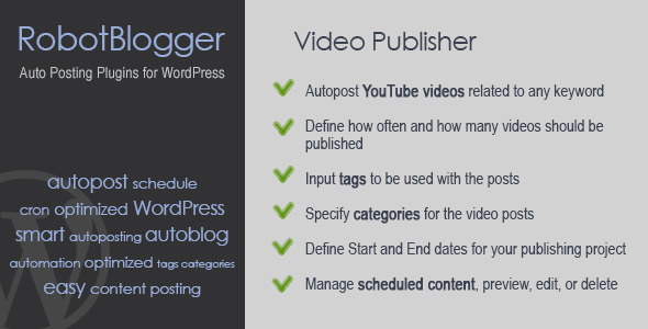 CodeCanyon RobotBlogger Video Publisher for WordPress 5349979