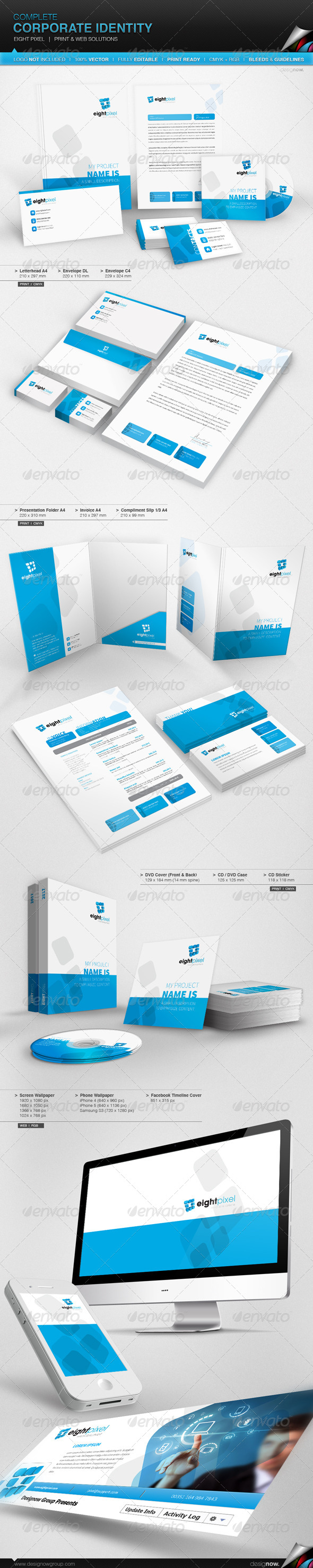 Corporate Identity - Eight Pixel - Stationery Print Templates