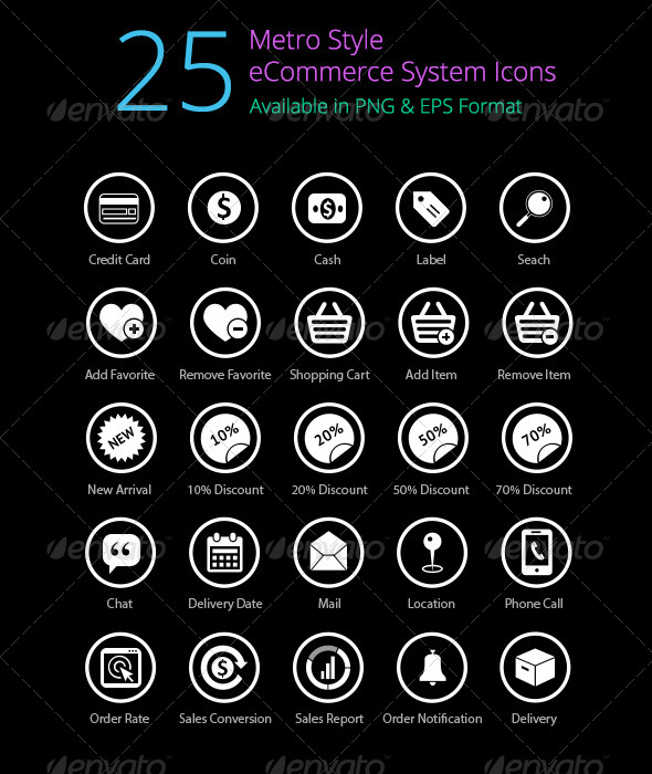 Check out 25 Metro eCommerce System Icons!