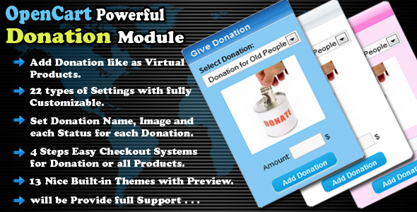 opencart powerful donation module