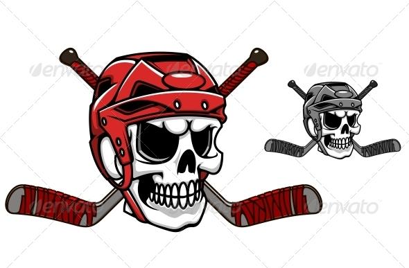 GraphicRiver Skull in Ice Hockey Helmet 5438443