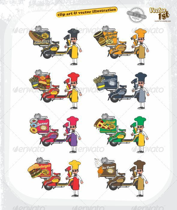 GraphicRiver Food Scooter Delivery Cartoon Set 5438447