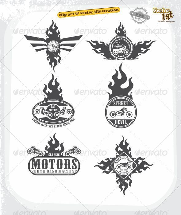 GraphicRiver Chopper Motorcycle Fire Label Set 5438458