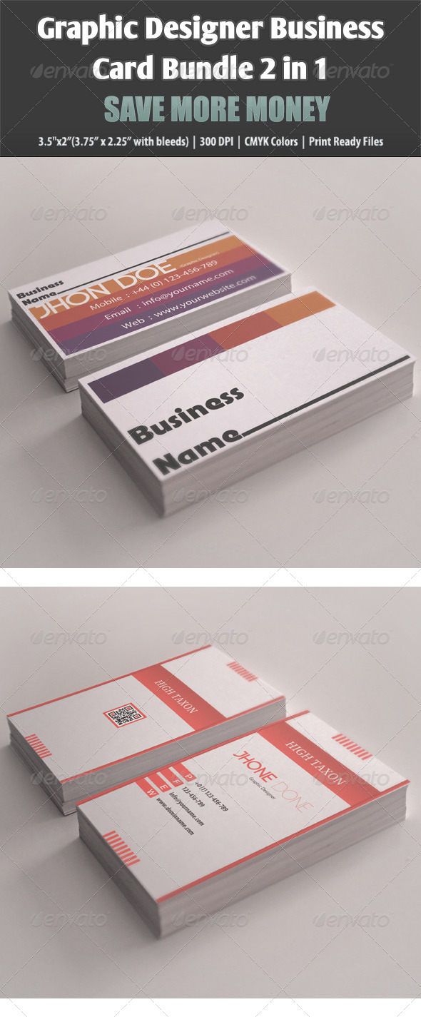 Graphic Designer Business Card Bundle 2 in 1 - Business Cards Print Templates