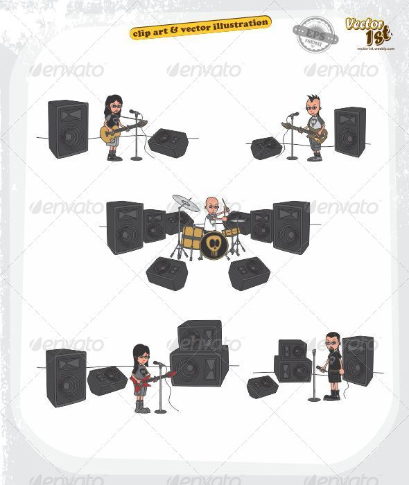 GraphicRiver Live Stage Solo Concert Cartoon 5438503
