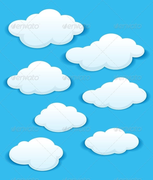 GraphicRiver Set of White Clouds in the Blue Sky 5438520