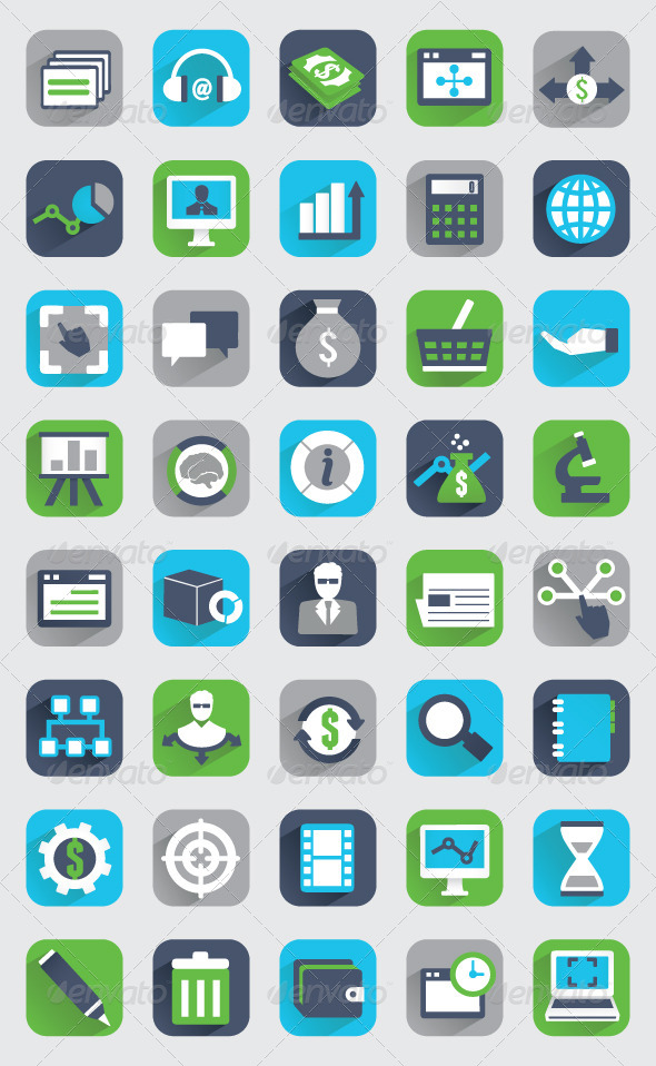 GraphicRiver Set of Flat Analytics and Statistics Icons 5433766