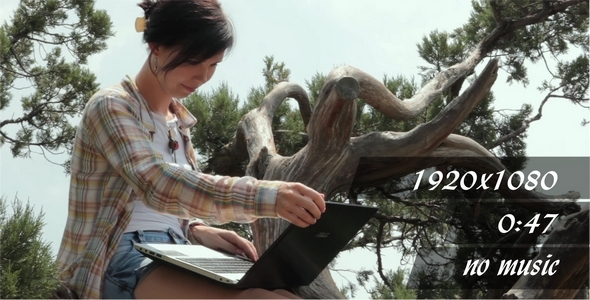 The Girl With Laptop On The Nature 2