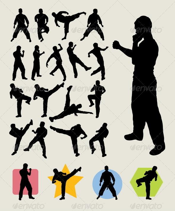 GraphicRiver Karateka Kick Silhouettes 5438941
