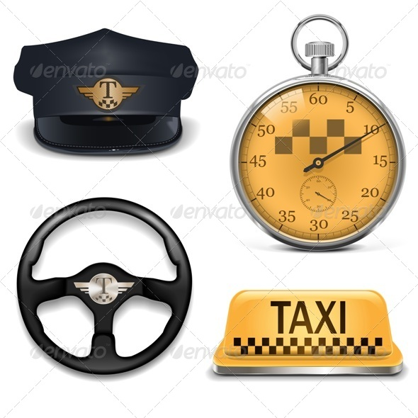 GraphicRiver Vector Retro Taxi Icons 5439082