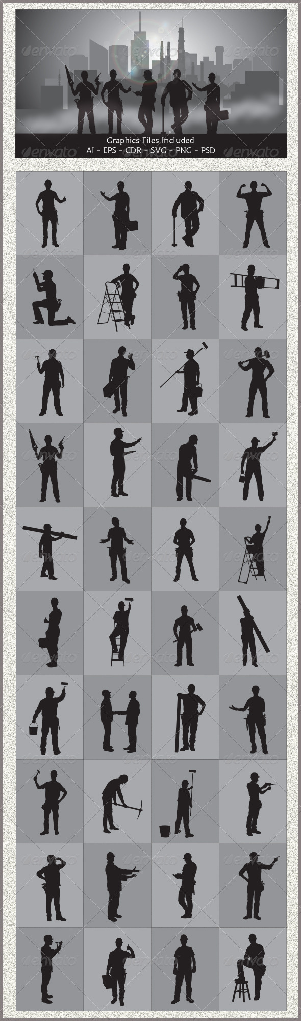 GraphicRiver Handyman Silhouettes 5439352