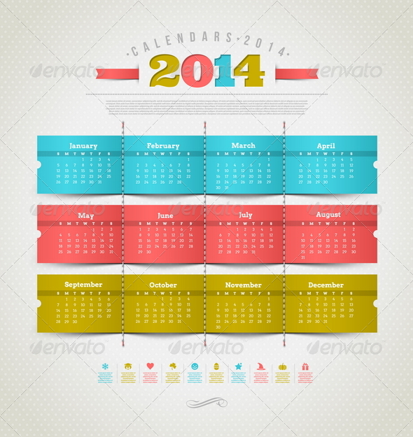 GraphicRiver Calendar of 2014 with Holidays Signs 5439393