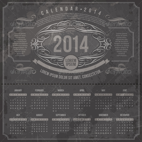 GraphicRiver Ornate Vintage Calendar of 2014 5439420