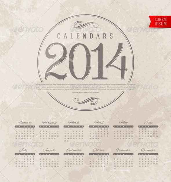 GraphicRiver Decorative Calendar of 2014 5439553