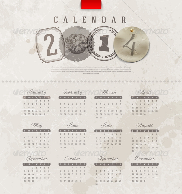 GraphicRiver Grunge Vintage Calendar of 2014 5439618