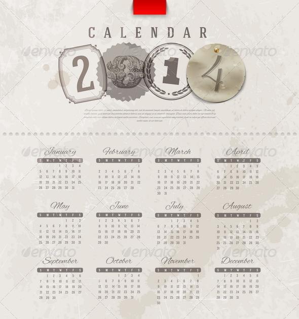 Grunge Vintage Calendar of 2014