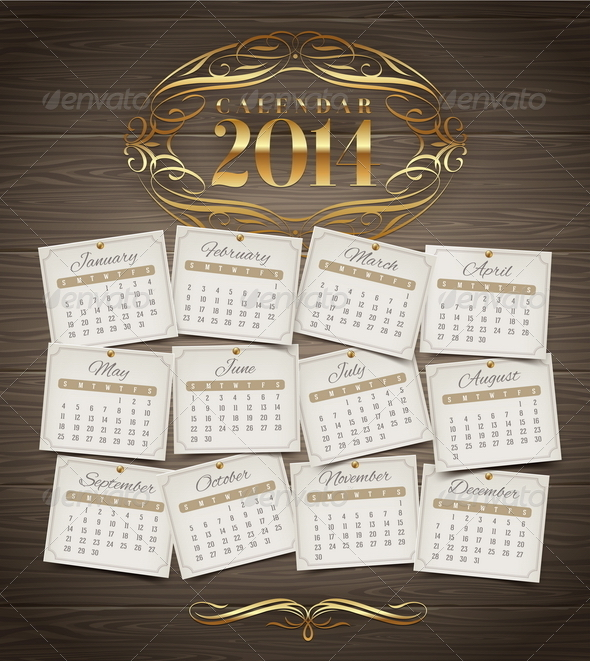 Calendar of 2014 with Golden Decor