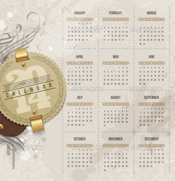 GraphicRiver Calendar of 2014 with Vintage Label 5439857