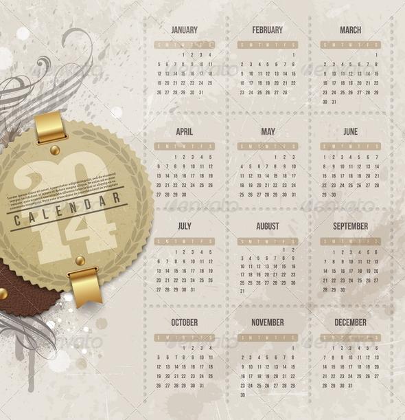 Calendar of 2014 with Vintage Label