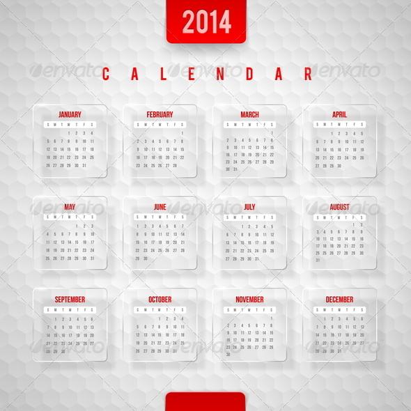 Vector Design Template -  Calendar of 2014