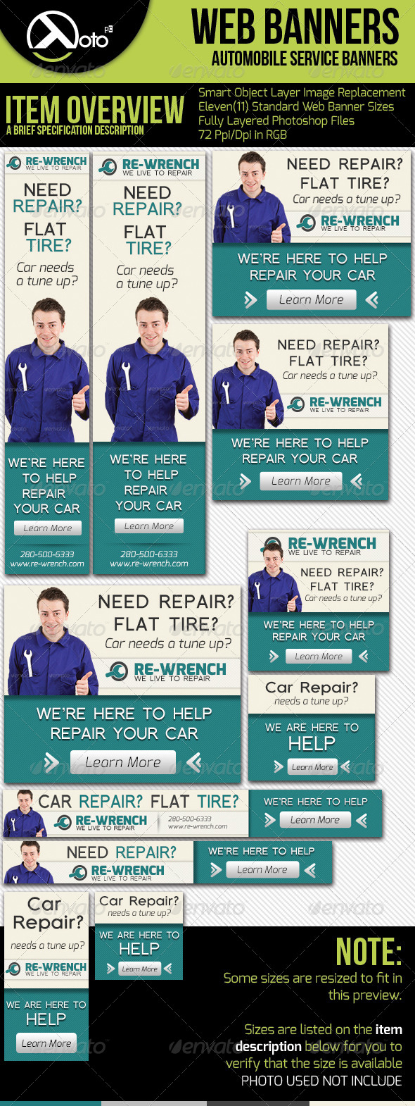 GraphicRiver Car Service Web Banners 5440077