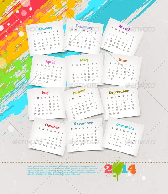 Calendar of 2014 Year