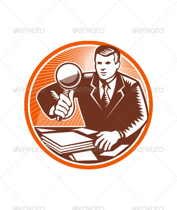 GraphicRiver Businessman Magnifying Glass Looking Documents 5440260