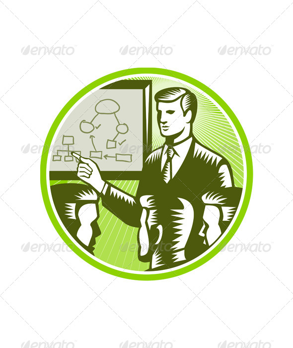 GraphicRiver Businessman Presenting Boardroom Woodcut 5440298