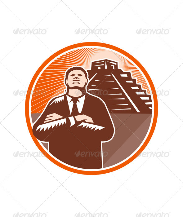GraphicRiver African American Businessman Protect Pyramid 5440315