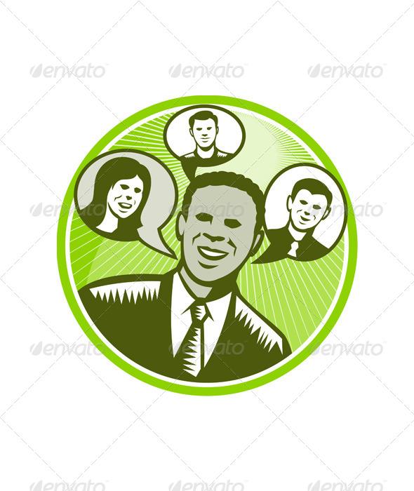 GraphicRiver Businessman People Smiling Speech Bubble 5440360