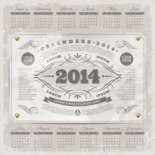 Ornate Vintage Calendar of 2014